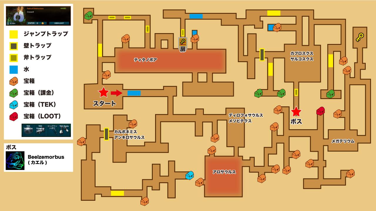 ARKモバイル Path of Destruction ダンジョンマップ
