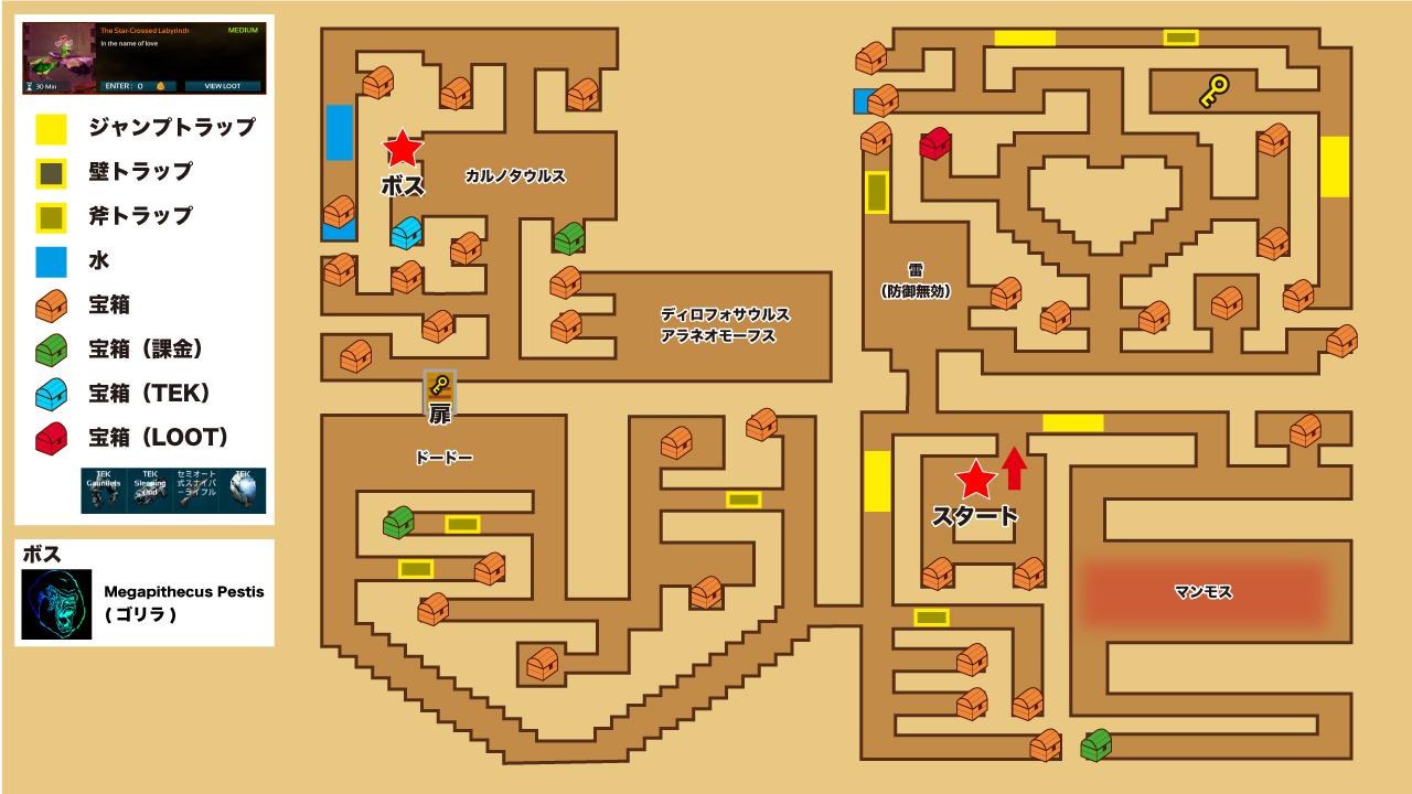 ARKモバイル The Star-Crossed Labyrinth ダンジョンマップ